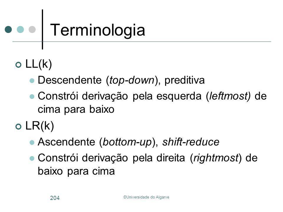 ©Universidade do Algarve 204 Terminologia LL(k) Descendente (top-down), preditiva Constrói derivação pela esquerda (leftmost) de cima para baixo LR(k)