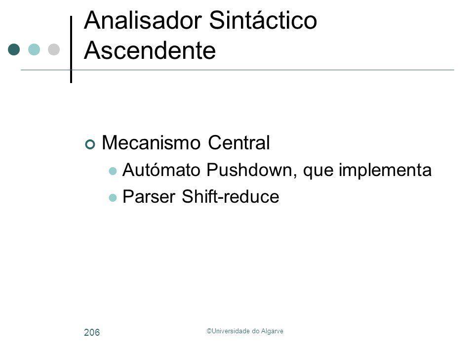 ©Universidade do Algarve 206 Analisador Sintáctico Ascendente Mecanismo Central Autómato Pushdown, que implementa Parser Shift-reduce
