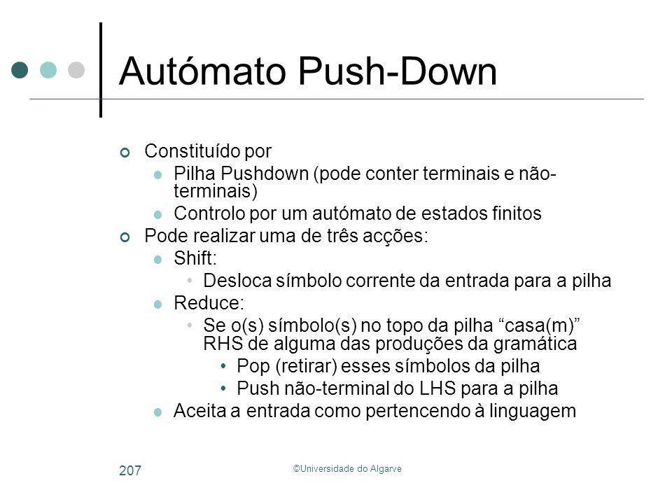©Universidade do Algarve 207 Autómato Push-Down Constituído por Pilha Pushdown (pode conter terminais e não- terminais) Controlo por um autómato de es