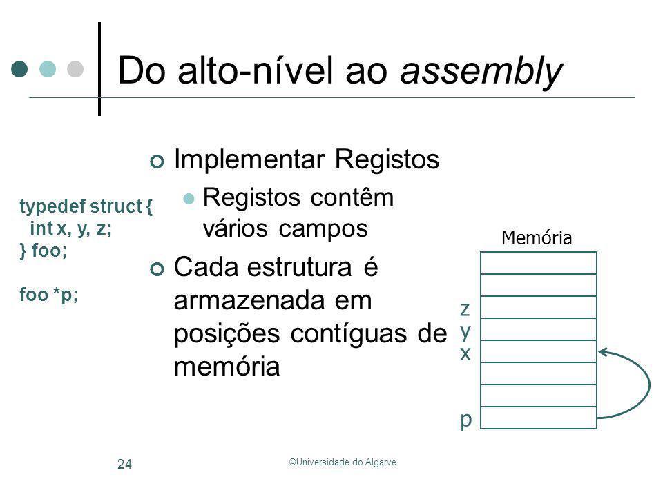 ©Universidade do Algarve 24 Do alto-nível ao assembly Implementar Registos Registos contêm vários campos Cada estrutura é armazenada em posições contí