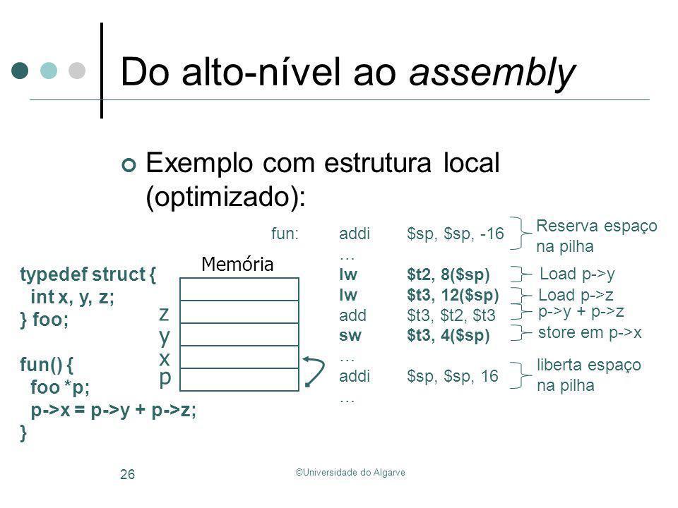 ©Universidade do Algarve 26 Do alto-nível ao assembly Exemplo com estrutura local (optimizado): typedef struct { int x, y, z; } foo; fun() { foo *p; p