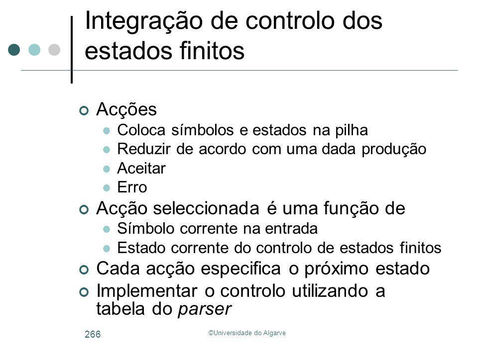 ©Universidade do Algarve 266 Integração de controlo dos estados finitos Acções Coloca símbolos e estados na pilha Reduzir de acordo com uma dada produ