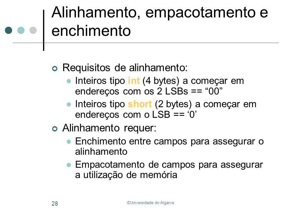 ©Universidade do Algarve 28 Alinhamento, empacotamento e enchimento Requisitos de alinhamento: Inteiros tipo int (4 bytes) a começar em endereços com