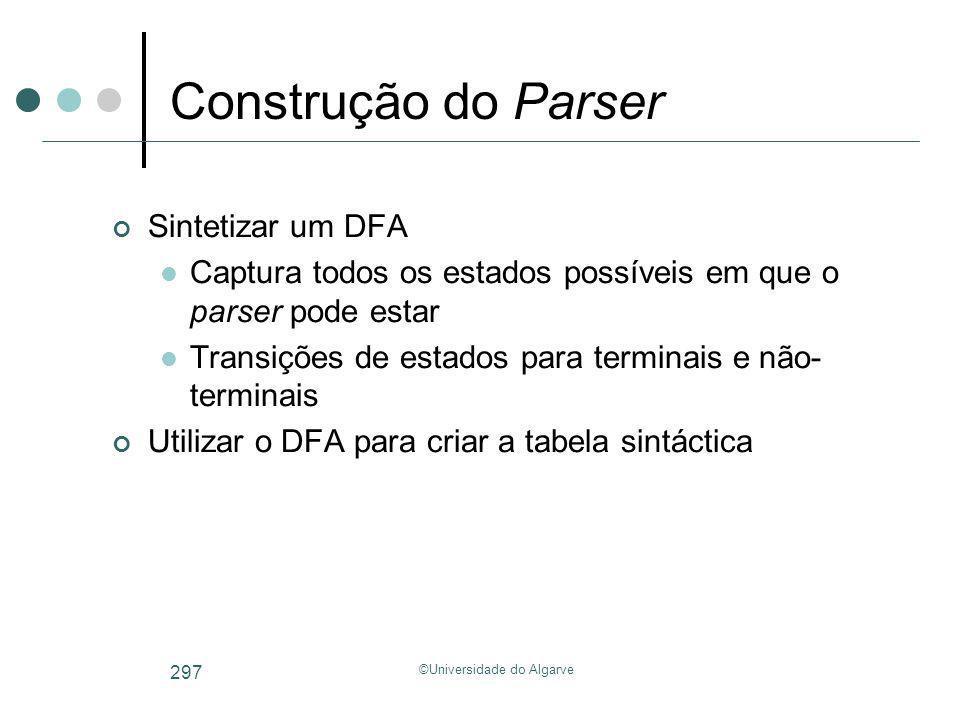 ©Universidade do Algarve 297 Construção do Parser Sintetizar um DFA Captura todos os estados possíveis em que o parser pode estar Transições de estado