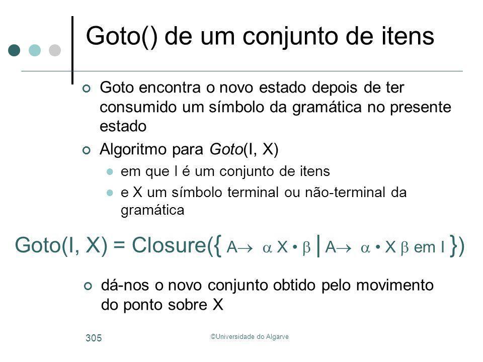 ©Universidade do Algarve 305 Goto() de um conjunto de itens Goto encontra o novo estado depois de ter consumido um símbolo da gramática no presente es