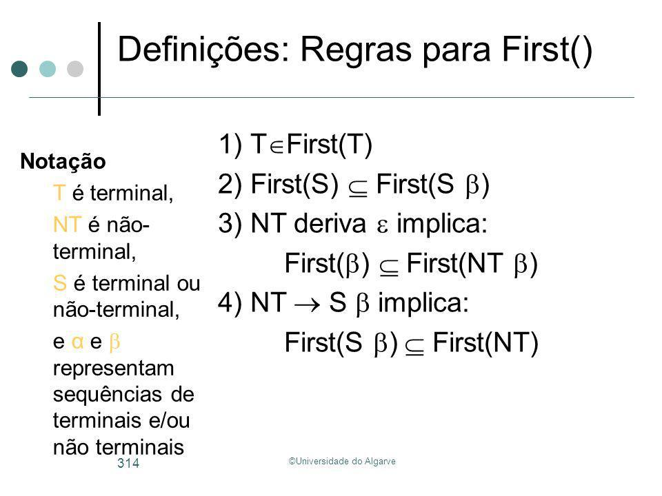 ©Universidade do Algarve 314 Definições: Regras para First() 1) T First(T) 2) First(S) First(S ) 3) NT deriva implica: First( ) First(NT ) 4) NT S imp