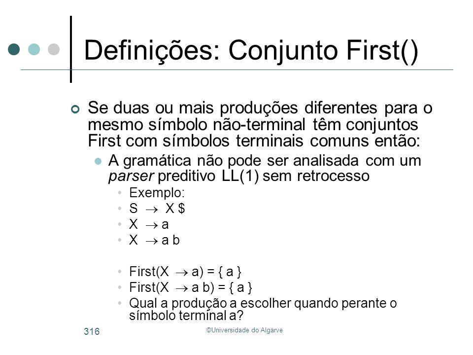 ©Universidade do Algarve 316 Definições: Conjunto First() Se duas ou mais produções diferentes para o mesmo símbolo não-terminal têm conjuntos First c