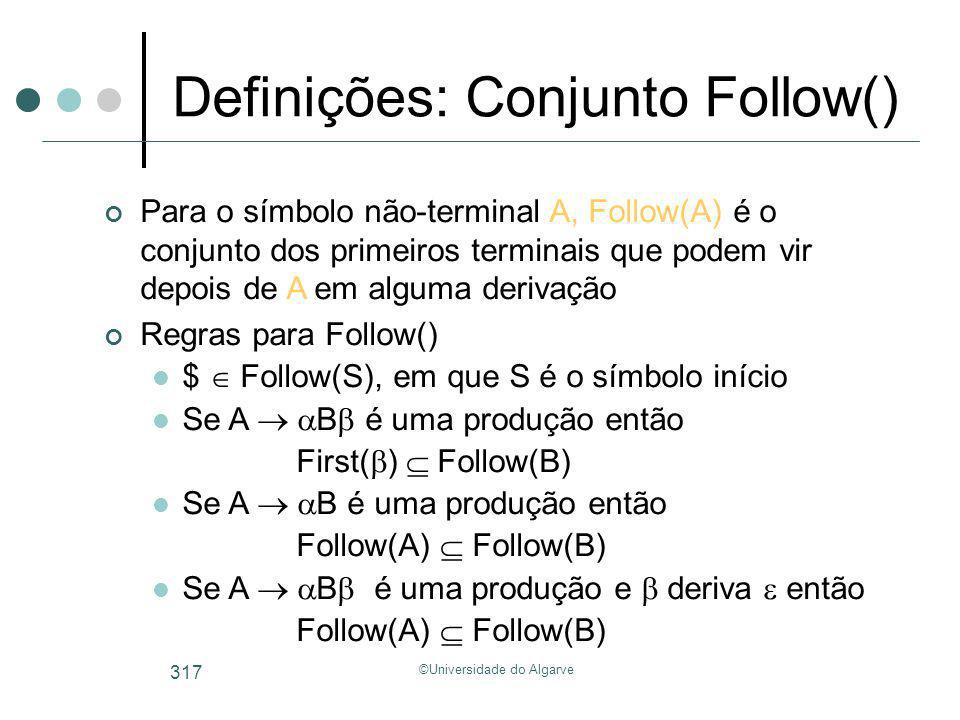 ©Universidade do Algarve 317 Definições: Conjunto Follow() Para o símbolo não-terminal A, Follow(A) é o conjunto dos primeiros terminais que podem vir
