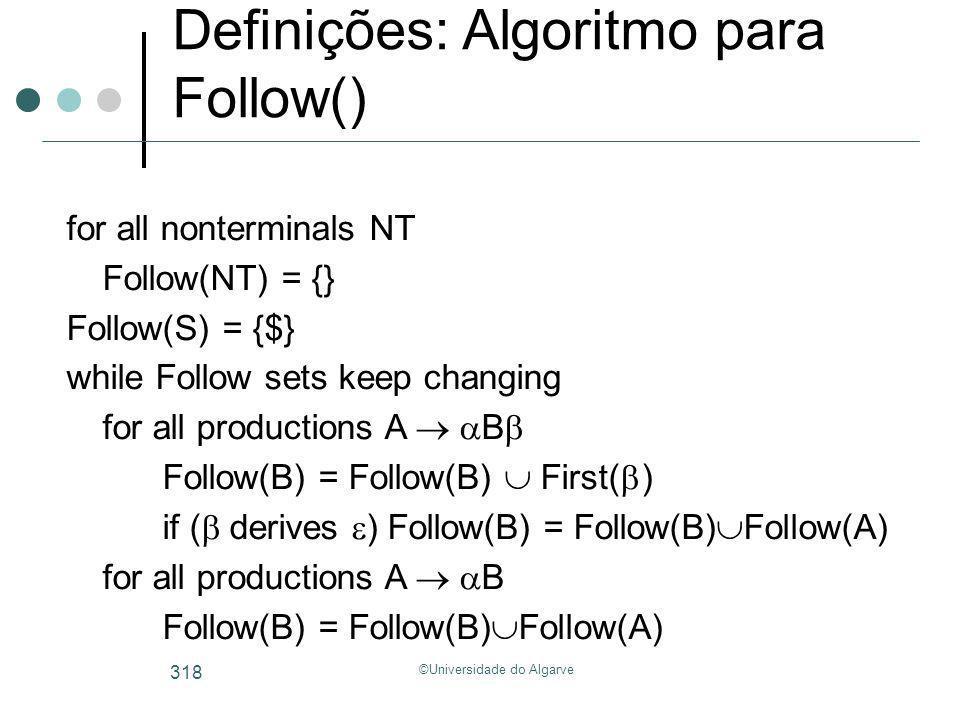 ©Universidade do Algarve 318 Definições: Algoritmo para Follow() for all nonterminals NT Follow(NT) = {} Follow(S) = {$} while Follow sets keep changi