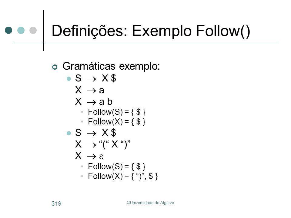 ©Universidade do Algarve 319 Definições: Exemplo Follow() Gramáticas exemplo: S X $ X a X a b Follow(S) = { $ } Follow(X) = { $ } S X $ X ( X ) X Foll
