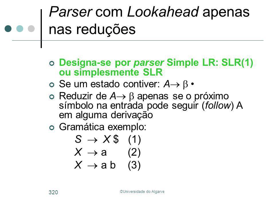 ©Universidade do Algarve 320 Parser com Lookahead apenas nas reduções Designa-se por parser Simple LR: SLR(1) ou simplesmente SLR Se um estado contive