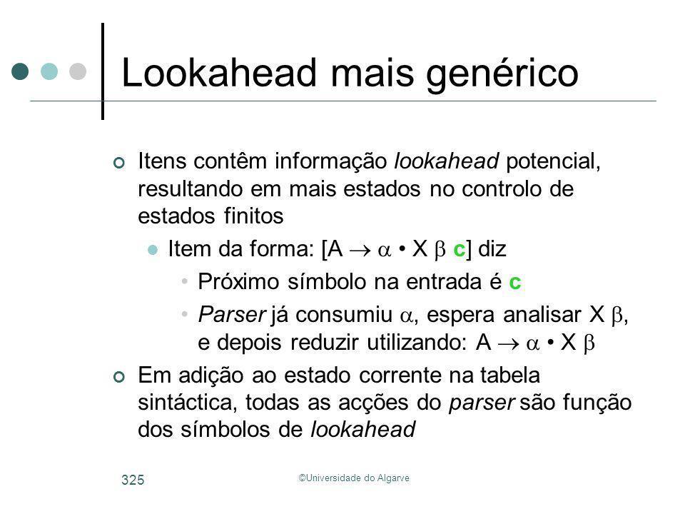 ©Universidade do Algarve 325 Lookahead mais genérico Itens contêm informação lookahead potencial, resultando em mais estados no controlo de estados fi
