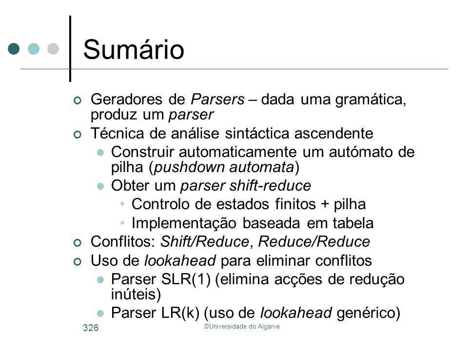 ©Universidade do Algarve 326 Sumário Geradores de Parsers – dada uma gramática, produz um parser Técnica de análise sintáctica ascendente Construir au