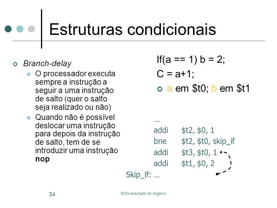 ©Universidade do Algarve 34 Estruturas condicionais Branch-delay O processador executa sempre a instrução a seguir a uma instrução de salto (quer o sa