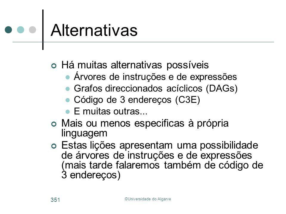 ©Universidade do Algarve 351 Alternativas Há muitas alternativas possíveis Árvores de instruções e de expressões Grafos direccionados acíclicos (DAGs)