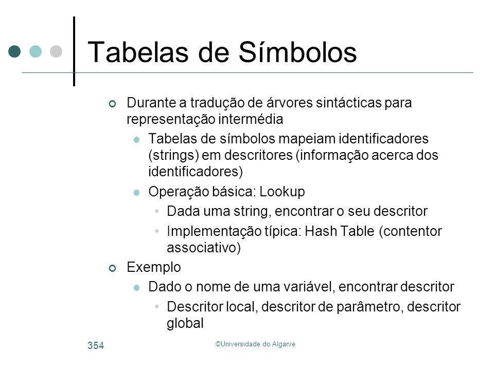 ©Universidade do Algarve 354 Tabelas de Símbolos Durante a tradução de árvores sintácticas para representação intermédia Tabelas de símbolos mapeiam i