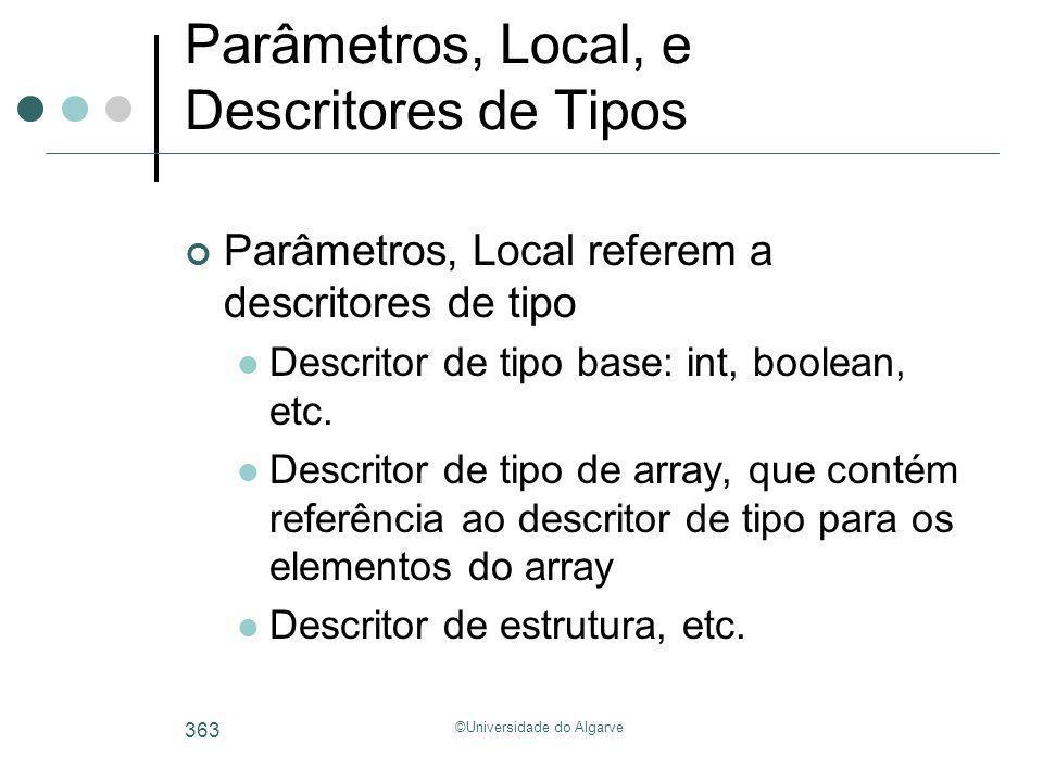 ©Universidade do Algarve 363 Parâmetros, Local, e Descritores de Tipos Parâmetros, Local referem a descritores de tipo Descritor de tipo base: int, bo