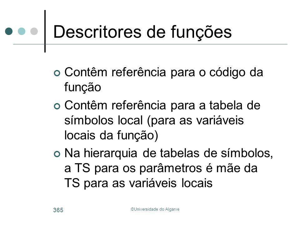 ©Universidade do Algarve 365 Descritores de funções Contêm referência para o código da função Contêm referência para a tabela de símbolos local (para