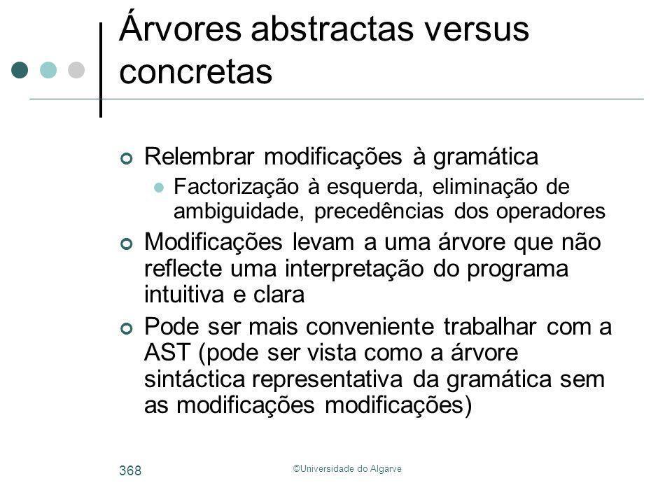 ©Universidade do Algarve 368 Árvores abstractas versus concretas Relembrar modificações à gramática Factorização à esquerda, eliminação de ambiguidade