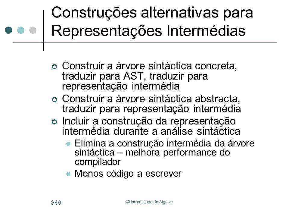 ©Universidade do Algarve 369 Construções alternativas para Representações Intermédias Construir a árvore sintáctica concreta, traduzir para AST, tradu