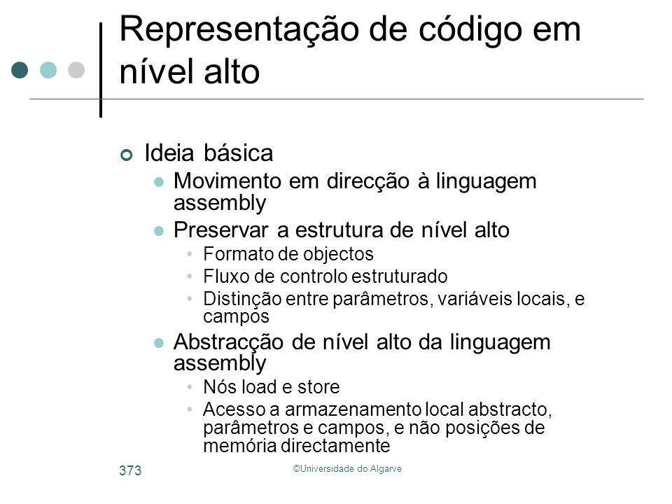 ©Universidade do Algarve 373 Representação de código em nível alto Ideia básica Movimento em direcção à linguagem assembly Preservar a estrutura de ní