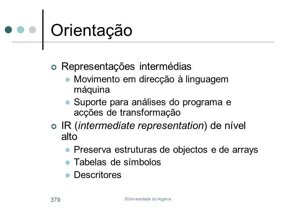 ©Universidade do Algarve 379 Orientação Representações intermédias Movimento em direcção à linguagem máquina Suporte para análises do programa e acçõe