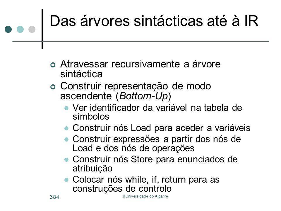 ©Universidade do Algarve 384 Das árvores sintácticas até à IR Atravessar recursivamente a árvore sintáctica Construir representação de modo ascendente
