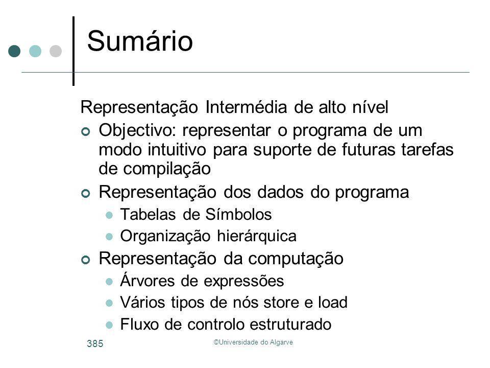 ©Universidade do Algarve 385 Sumário Representação Intermédia de alto nível Objectivo: representar o programa de um modo intuitivo para suporte de fut