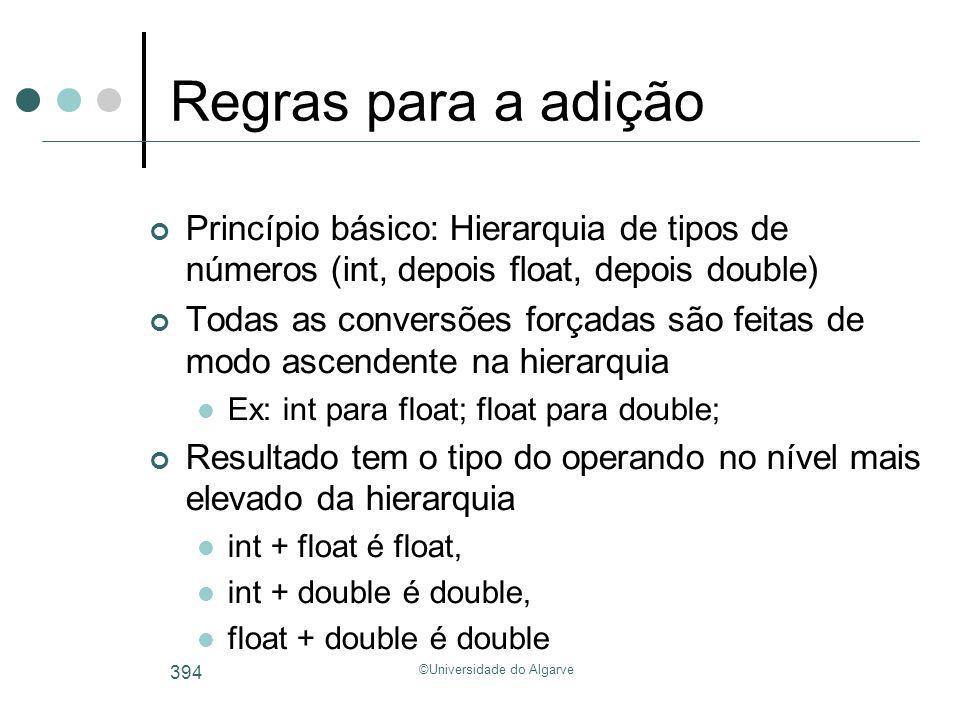 ©Universidade do Algarve 394 Regras para a adição Princípio básico: Hierarquia de tipos de números (int, depois float, depois double) Todas as convers