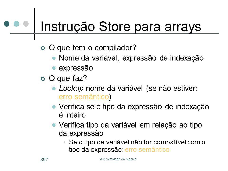 ©Universidade do Algarve 397 Instrução Store para arrays O que tem o compilador? Nome da variável, expressão de indexação expressão O que faz? Lookup