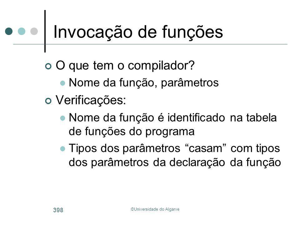 ©Universidade do Algarve 398 Invocação de funções O que tem o compilador? Nome da função, parâmetros Verificações: Nome da função é identificado na ta