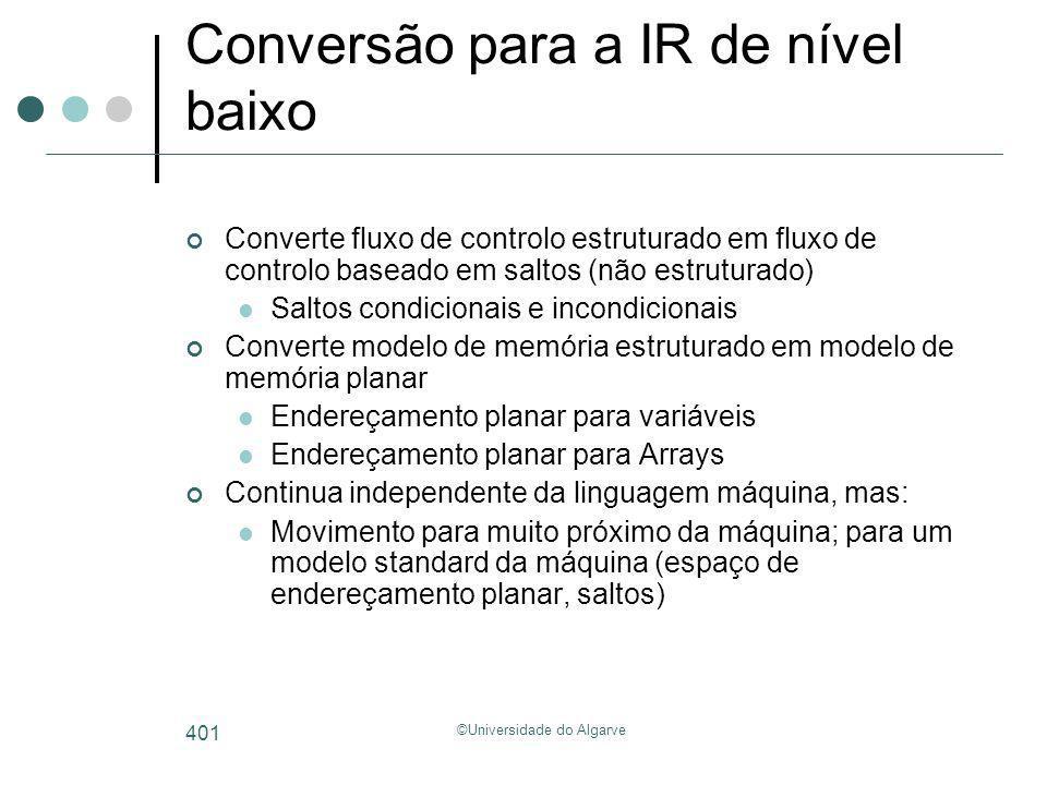 ©Universidade do Algarve 401 Conversão para a IR de nível baixo Converte fluxo de controlo estruturado em fluxo de controlo baseado em saltos (não est
