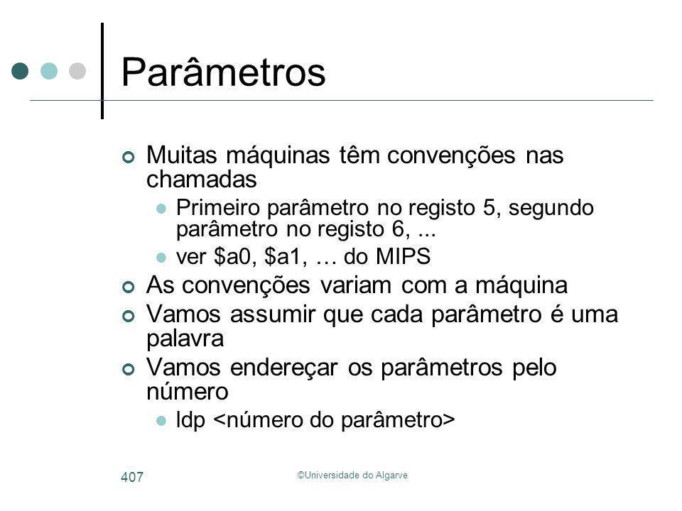 ©Universidade do Algarve 407 Parâmetros Muitas máquinas têm convenções nas chamadas Primeiro parâmetro no registo 5, segundo parâmetro no registo 6,..