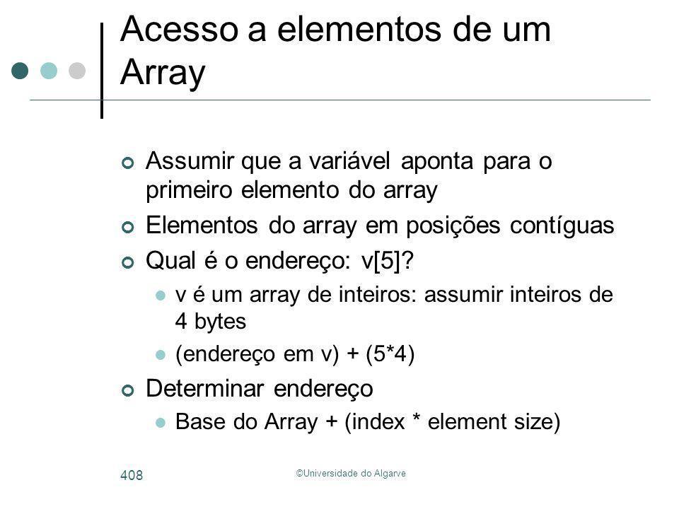 ©Universidade do Algarve 408 Acesso a elementos de um Array Assumir que a variável aponta para o primeiro elemento do array Elementos do array em posi