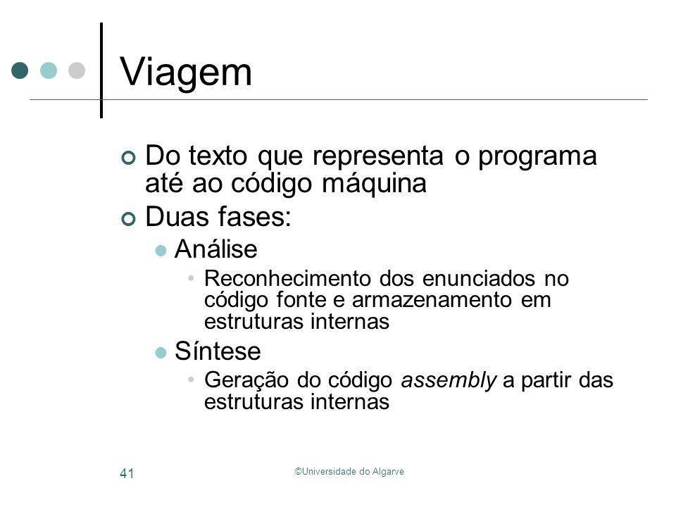 ©Universidade do Algarve 41 Viagem Do texto que representa o programa até ao código máquina Duas fases: Análise Reconhecimento dos enunciados no códig