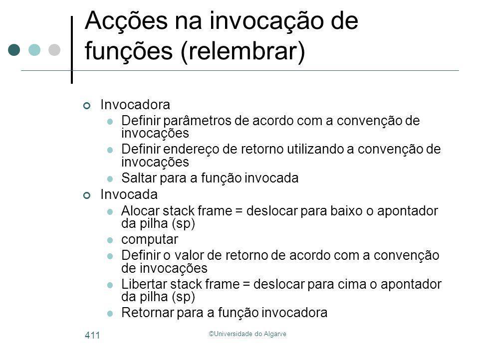 ©Universidade do Algarve 411 Acções na invocação de funções (relembrar) Invocadora Definir parâmetros de acordo com a convenção de invocações Definir