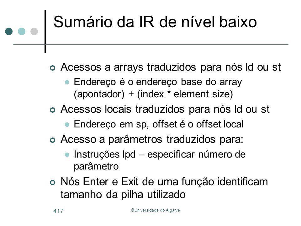 ©Universidade do Algarve 417 Sumário da IR de nível baixo Acessos a arrays traduzidos para nós ld ou st Endereço é o endereço base do array (apontador