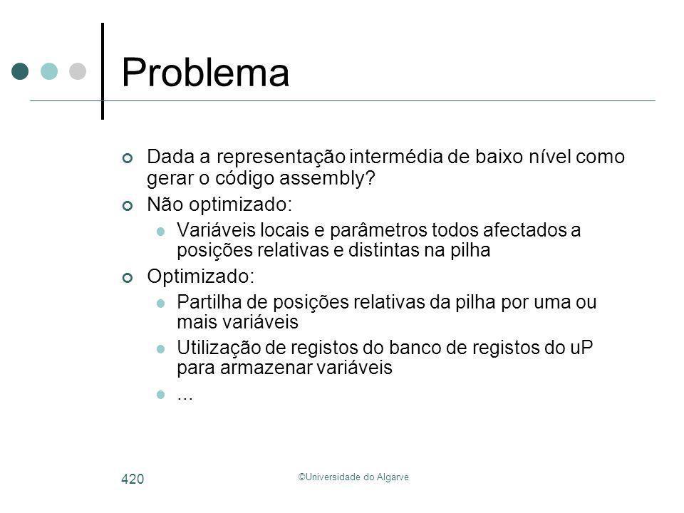 ©Universidade do Algarve 420 Problema Dada a representação intermédia de baixo nível como gerar o código assembly? Não optimizado: Variáveis locais e