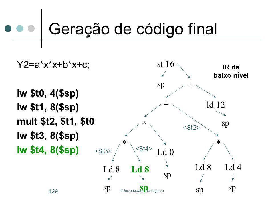 ©Universidade do Algarve 429 Geração de código final Y2=a*x*x+b*x+c; lw $t0, 4($sp) lw $t1, 8($sp) mult $t2, $t1, $t0 lw $t3, 8($sp) lw $t4, 8($sp) Ld