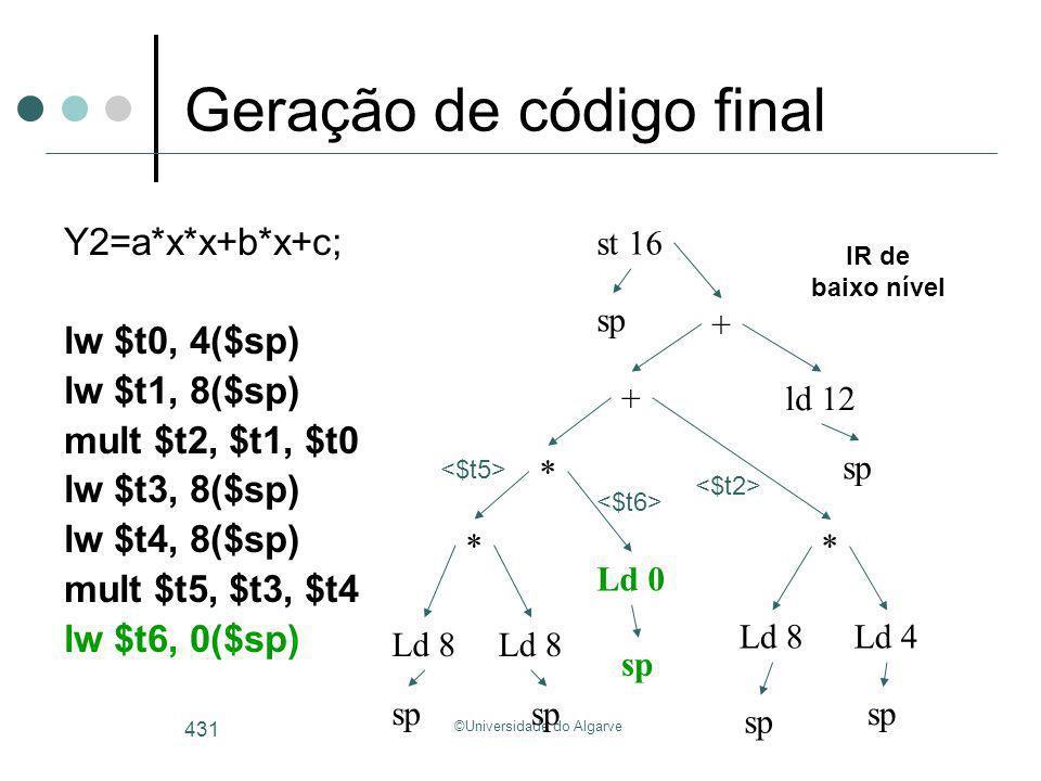 ©Universidade do Algarve 431 Geração de código final Y2=a*x*x+b*x+c; lw $t0, 4($sp) lw $t1, 8($sp) mult $t2, $t1, $t0 lw $t3, 8($sp) lw $t4, 8($sp) mu
