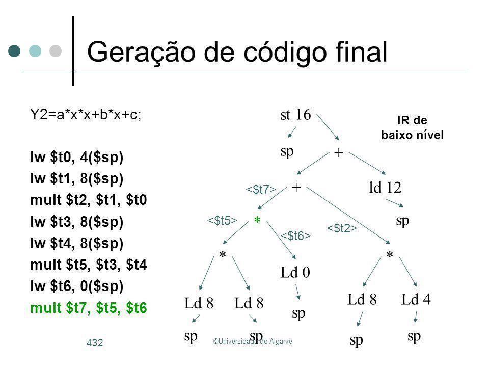 ©Universidade do Algarve 432 Geração de código final Y2=a*x*x+b*x+c; lw $t0, 4($sp) lw $t1, 8($sp) mult $t2, $t1, $t0 lw $t3, 8($sp) lw $t4, 8($sp) mu