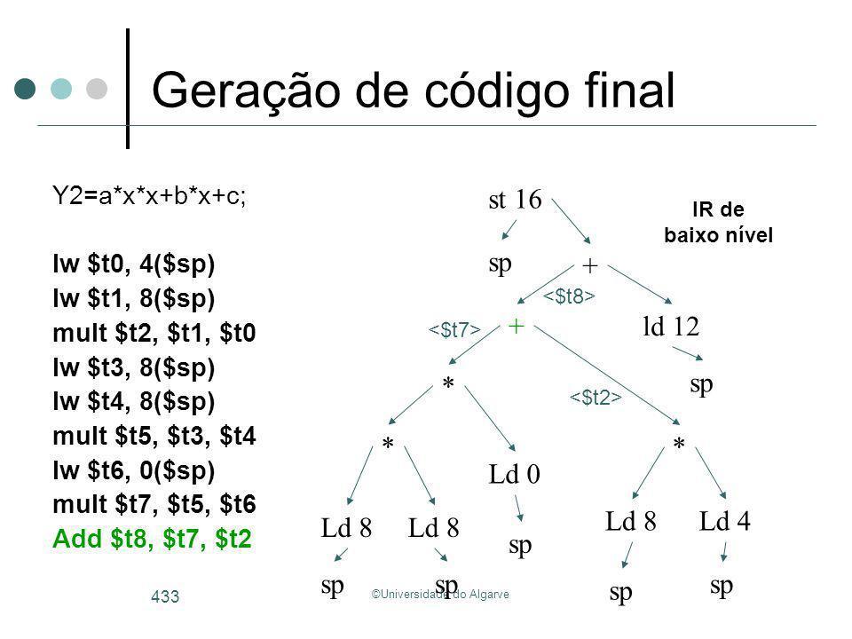 ©Universidade do Algarve 433 Geração de código final Y2=a*x*x+b*x+c; lw $t0, 4($sp) lw $t1, 8($sp) mult $t2, $t1, $t0 lw $t3, 8($sp) lw $t4, 8($sp) mu