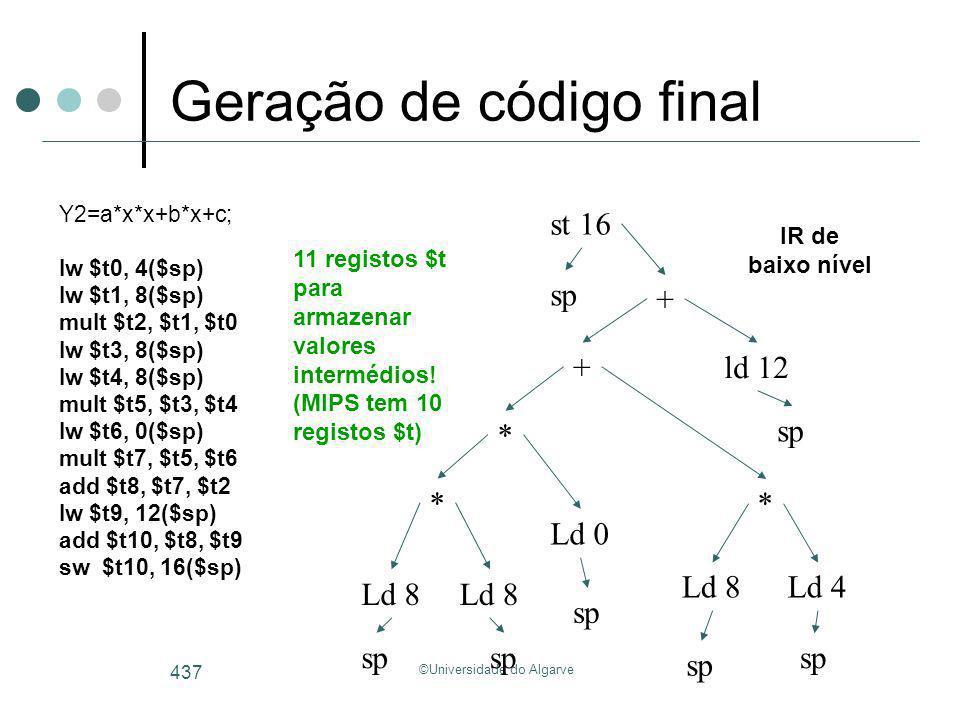 ©Universidade do Algarve 437 Geração de código final Y2=a*x*x+b*x+c; lw $t0, 4($sp) lw $t1, 8($sp) mult $t2, $t1, $t0 lw $t3, 8($sp) lw $t4, 8($sp) mu