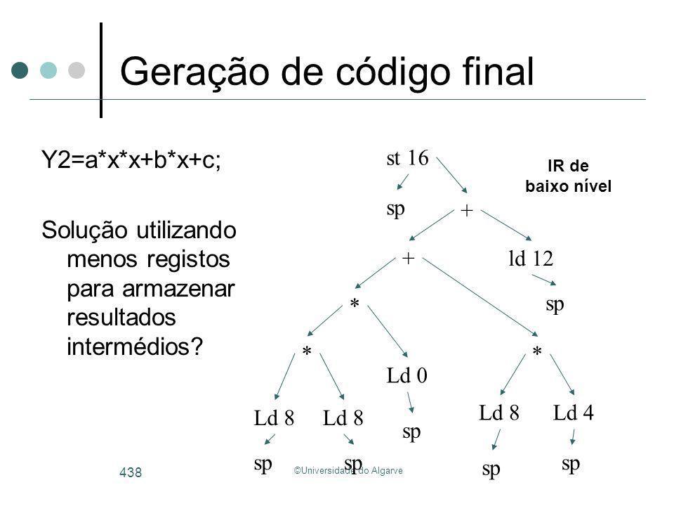 ©Universidade do Algarve 438 Geração de código final Y2=a*x*x+b*x+c; Solução utilizando menos registos para armazenar resultados intermédios? Ld 8 * +