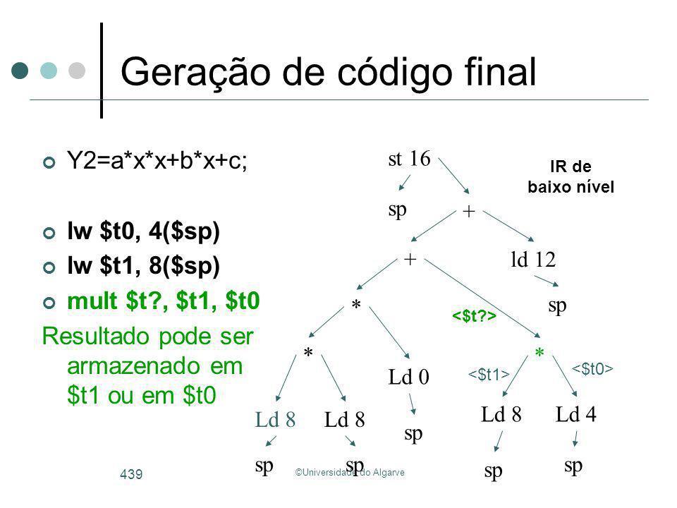 ©Universidade do Algarve 439 Geração de código final Y2=a*x*x+b*x+c; lw $t0, 4($sp) lw $t1, 8($sp) mult $t?, $t1, $t0 Resultado pode ser armazenado em