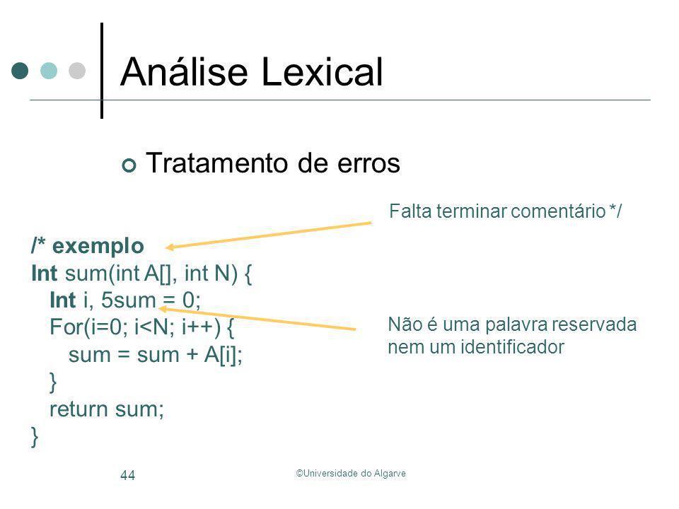 ©Universidade do Algarve 44 Análise Lexical /* exemplo Int sum(int A[], int N) { Int i, 5sum = 0; For(i=0; i<N; i++) { sum = sum + A[i]; } return sum;
