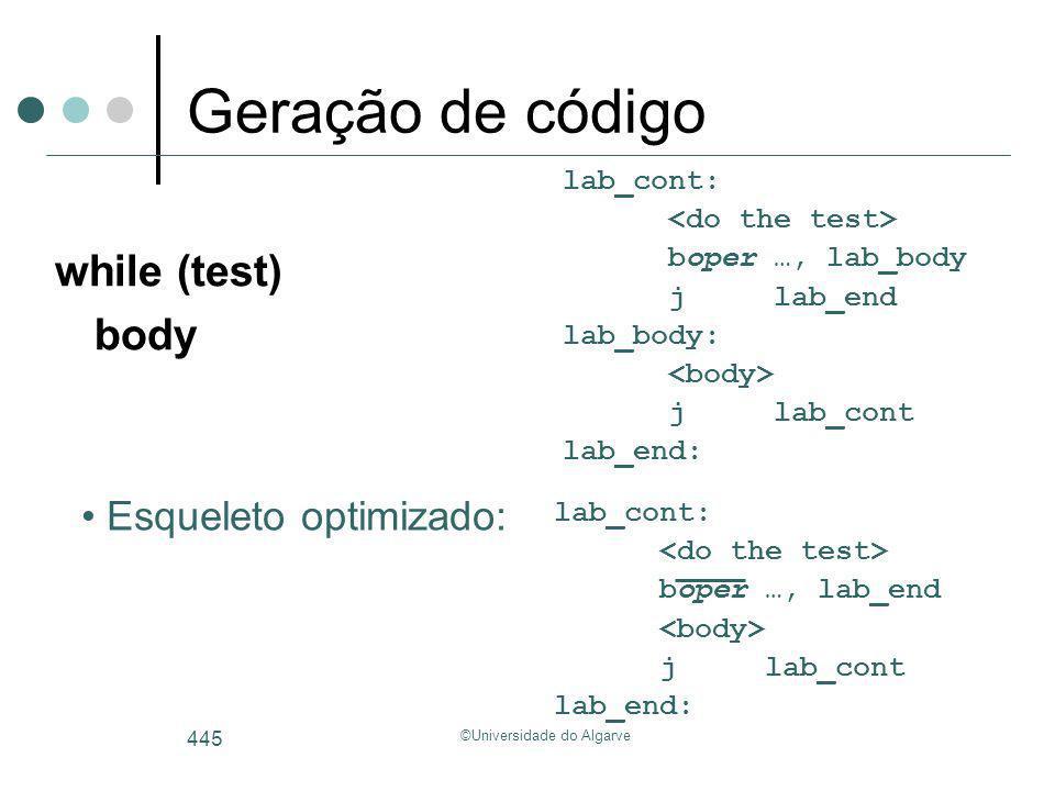 ©Universidade do Algarve 445 Geração de código while (test) body lab_cont: boper …, lab_body jlab_end lab_body: jlab_cont lab_end: Esqueleto optimizad