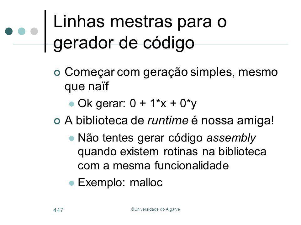 ©Universidade do Algarve 447 Linhas mestras para o gerador de código Começar com geração simples, mesmo que naïf Ok gerar: 0 + 1*x + 0*y A biblioteca