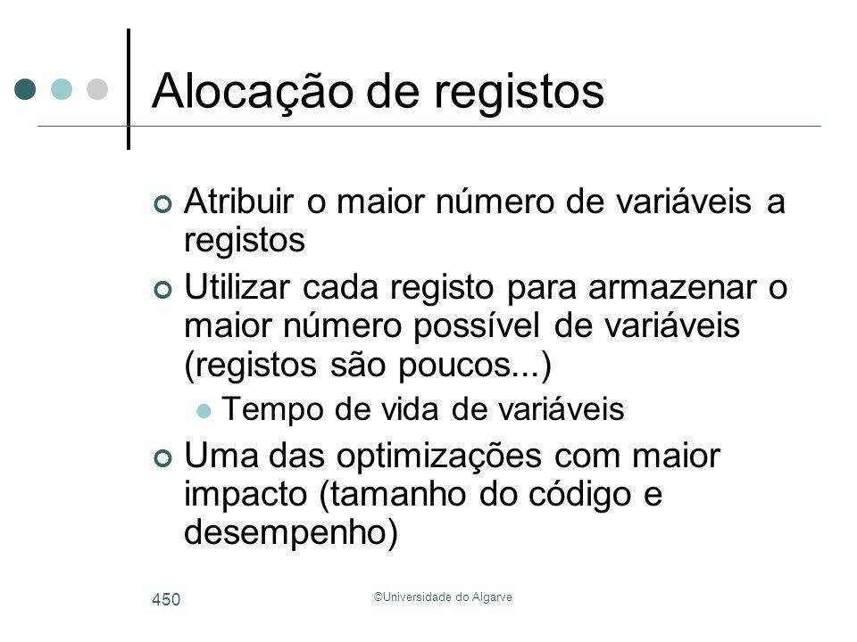 ©Universidade do Algarve 450 Alocação de registos Atribuir o maior número de variáveis a registos Utilizar cada registo para armazenar o maior número
