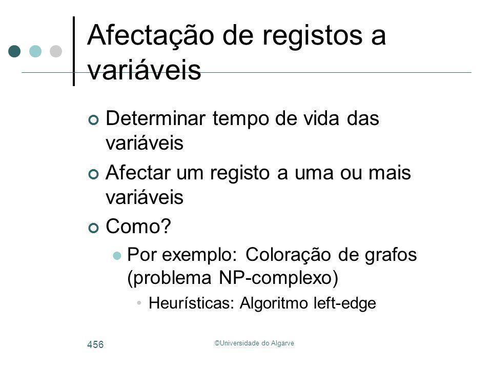 ©Universidade do Algarve 456 Afectação de registos a variáveis Determinar tempo de vida das variáveis Afectar um registo a uma ou mais variáveis Como?